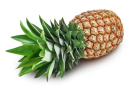 Pineapple isolated on white background with clipping path